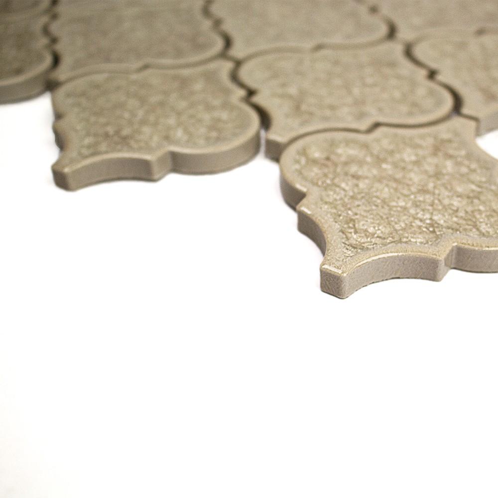 Roman Collection Hazelnut Cream Arabesque Glass Tile