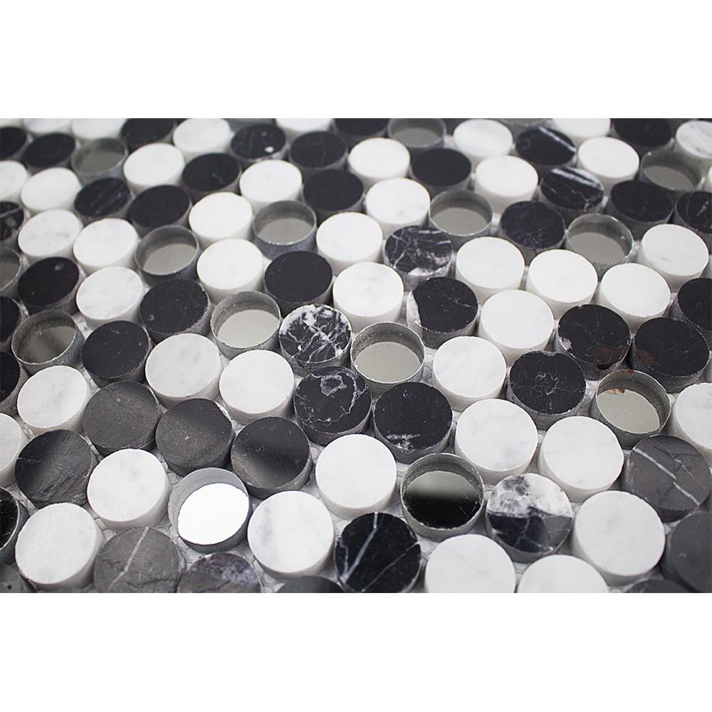 Sample Carrara White Marble Mint Glass Random Linear: Paradigm Nero Marquina And White Carrera Penny Round