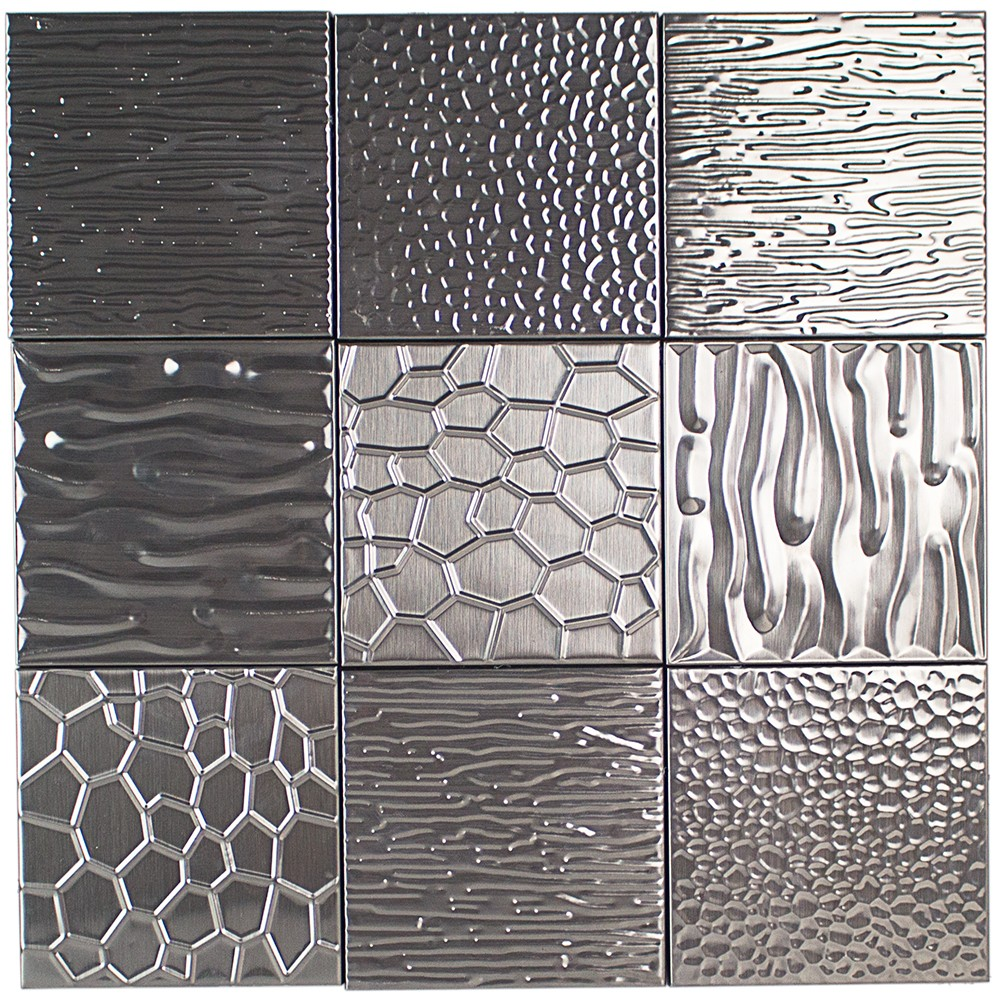 Metal Etched Silver Stainless Steel 4x4 Tiles