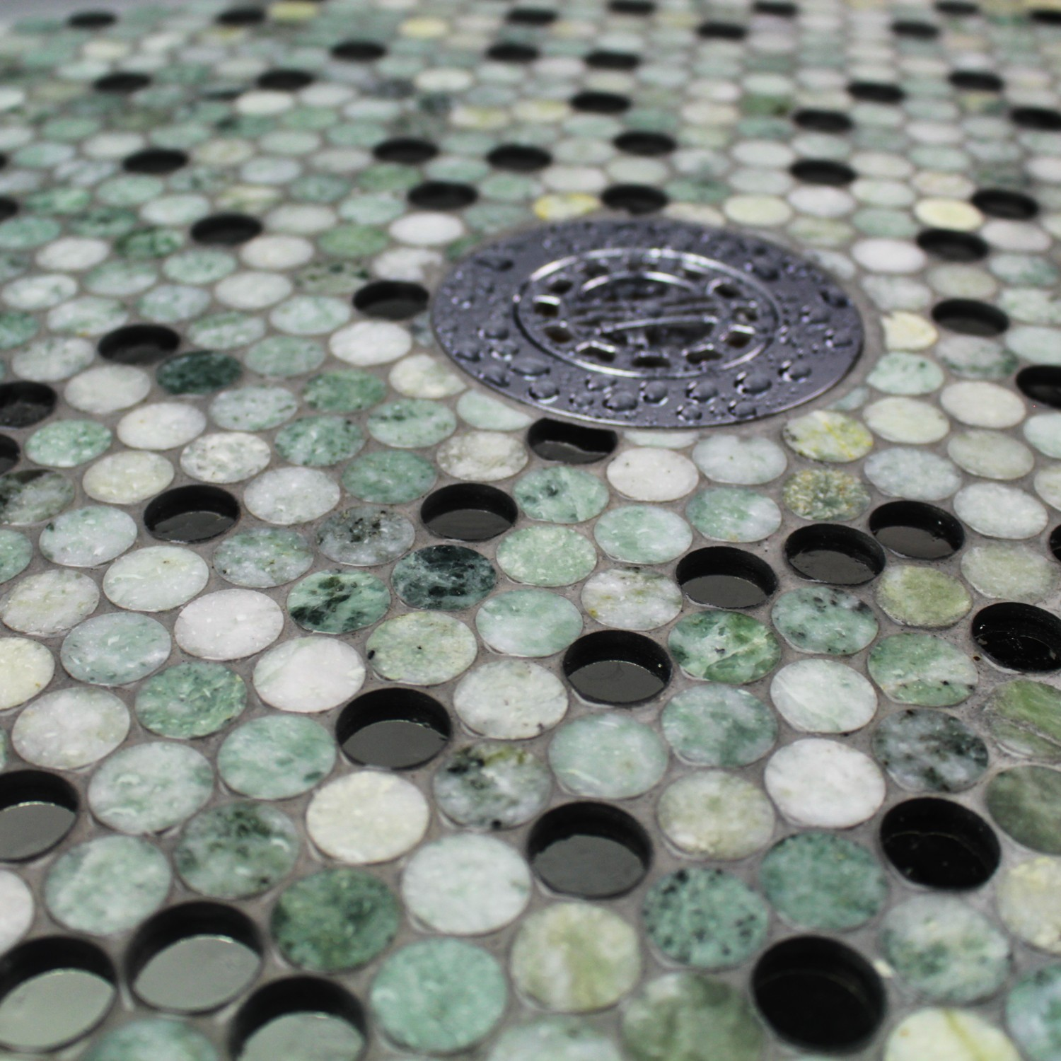Round Green Marble : Reflection ming green with mirror penny round marble and