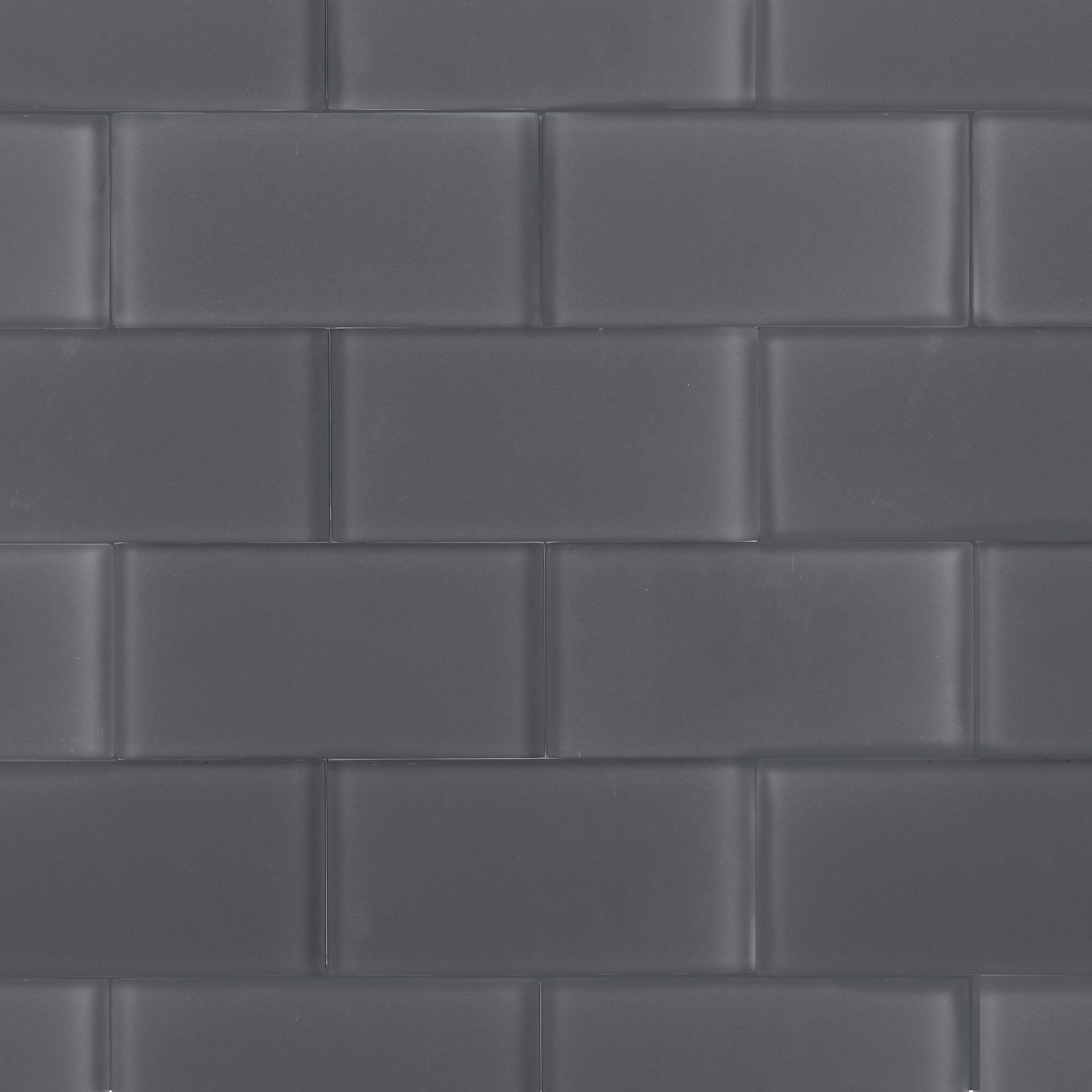 Loft ash gray frosted 3x6 glass tile - Frosted glass backsplash ...