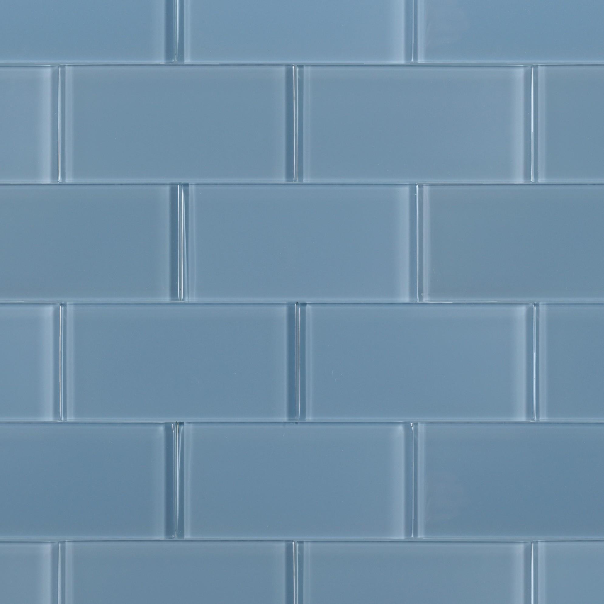 Subway Tile Glass Loft Blue Gray Polished 3x6 Glass Tile