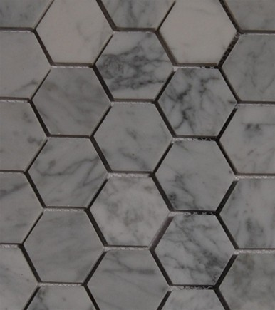 sample-HEXAGON WHITE CARRERA 1/4 SHEET TILE SAMPLE_MAIN