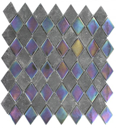 GEOLOGICAL DIAMOND BLACK SLATE & RAINBOW BLACK GLASS TILES 2X3_MAIN