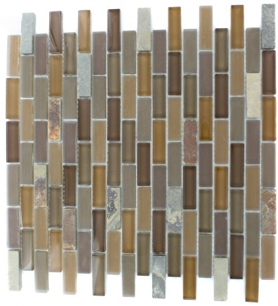 GEOLOGICAL BRICK MULTICOLOR SLATE & EARTH BLEND GLASS TILES 1/2X2_MAIN
