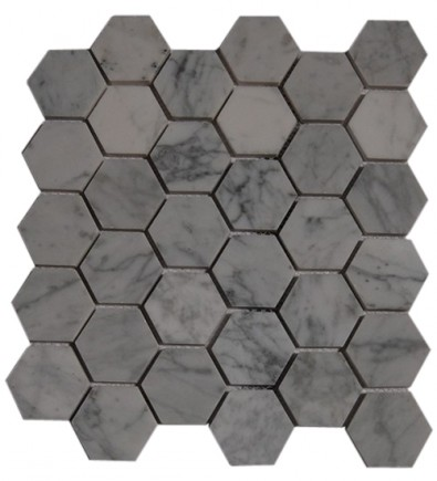 HEXAGON WHITE CARRERA MARBLE MOSAICS_MAIN