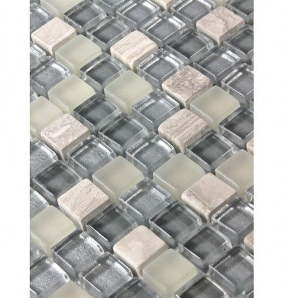"sample- SILVER FOG BLEND SQUARES 1/2 X 1/2"" GLASS TILES 1/4 SHEET SAMPLE SQUARES""_MAIN"