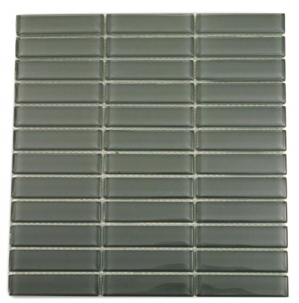 "Loft Ash Gray Polished 1"" X 4"" Glass Tiles"