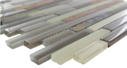 Sample- Geological Tao Multicolor Slate & Khaki Blend Glass Tiles Sample
