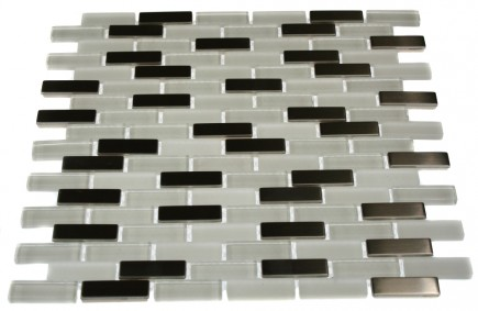 LOFT ICE CAVE 1/2X2 BRICK PATTERN MARBLE & GLASS TILE_MAIN