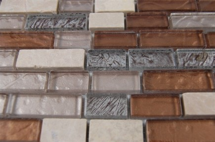 "sample- BRICK PATTERN LEATHER BOOT BROWN BLEND 1/2 X 2""  TILE 1/4 SHEET SAMPLE BRICK""_MAIN"