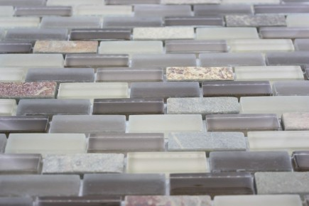 Sample- Geological Brick Multicolor Slate & Khaki Blend Glass Tiles Sample