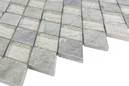 Sample- Geological Diamond Green Quartz Slate & White Gold Glass Tiles Sample