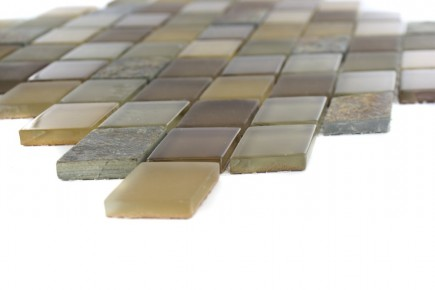 Sample- Geological Diamond Multicolor Slate & Earth Blend Glass Tiles Sample