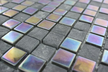 Sample- Geological Squares Black Slate & Rainbow Black Glass Tiles Sample