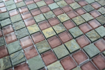 Sample- Geological Squares Multicolor Slate & Rust Glass Tiles Sample