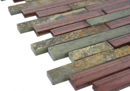 Sample- Geological Tao Multicolor Slate & Rust Glass Tiles Sample
