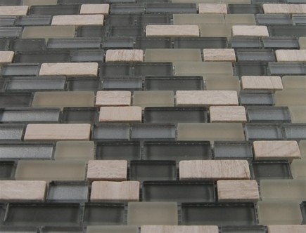 "sample- SILVER FOG BLEND BRICKS 1/2 X 2"" GLASS TILES 1/4 SHEET SAMPLE BRICK PATTERN""_MAIN"