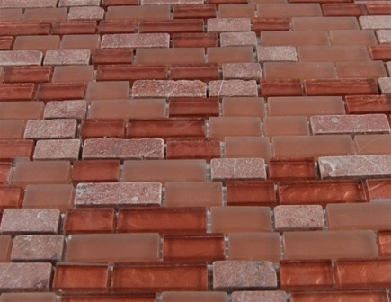 sample-BRICK PATTERN COPPER CLAY BLEND 1/2X2 1/4 SHEET SAMPLE TILES BRICK_MAIN