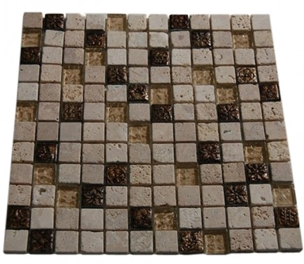 FUSION CAMELLIA 1X1 MARBLE & METAL TILES WITH COPPER DECO_MAIN