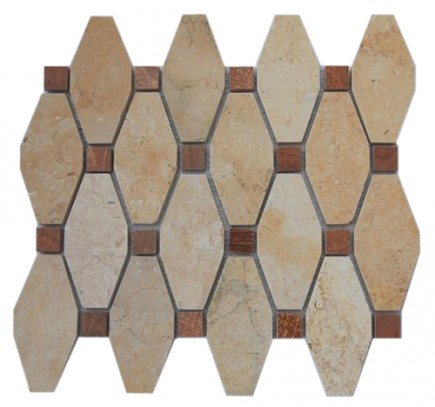 STELLA PATTERN JERUSALEM GOLD WITH WOOD ONYX DOT 1/2 X 1/2 MARBLE TILES_MAIN