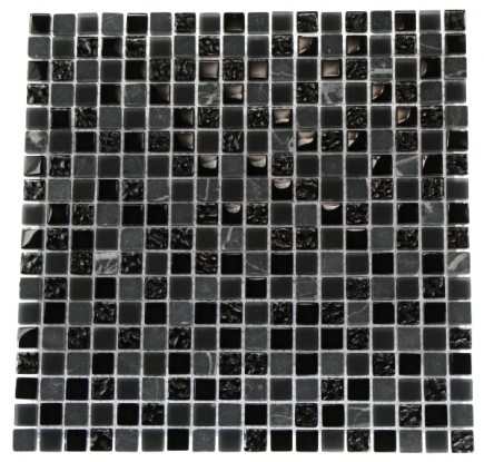 "NIGHTLIGHT BLACK BLEND 1/2 X 1/2"" MARBLE & GLASS TILE""_MAIN"