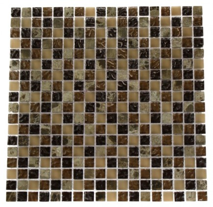 BARREL BROWN BLEND 1/2X1/2 MARBLE & GLASS TILE_MAIN