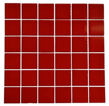 LOFT CHERRY RED POLISHED 2 X 2 GLASS TILES_MAIN