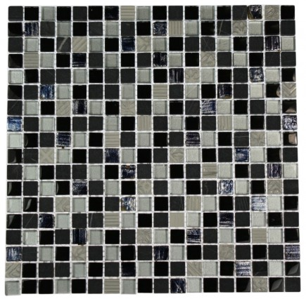 "METALLIC ETCHED BLACK ICE BLEND 1/2"" X 1/2"" MARBLE & GLASS TILES_MAIN"