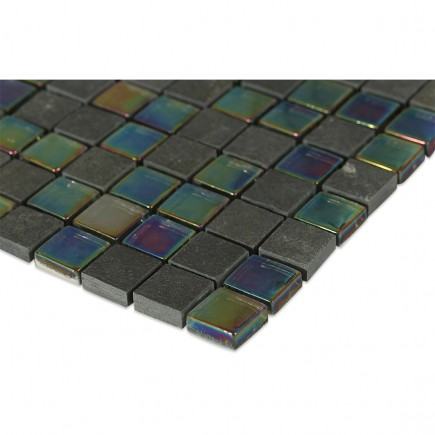 Geological Squares Black Slate + Rainbow_corner_closeup