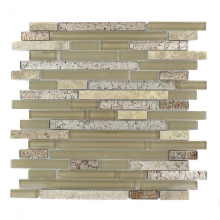 Tao Sahara Tan Glass and Stone Mosaic Tile