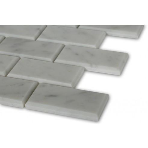 White Carrera 2x4 Brick Beveled Marble Tile_corner_closeup