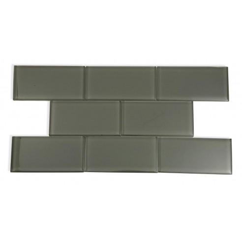 Loft Ash Gray Polished 3x6 Glass Tile