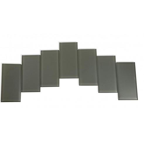 Sample - Loft Ash Gray Polished 3x6 Glass Tiles 1 Piece Sample