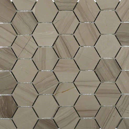 "Athens Gray 2"" Hexagon Polished Marble Mosaics"