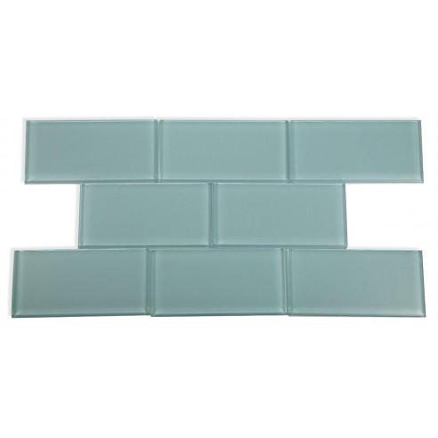 Loft Blue Gray Polished 3x6 Glass Tile
