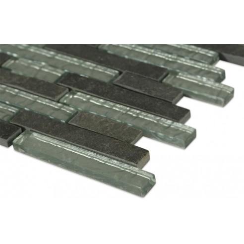 Geological Tao Black Slate + Silver Glass Tiles_corner_closeup
