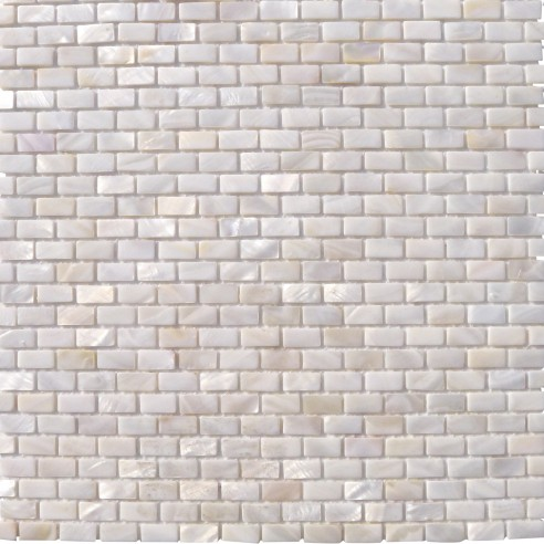 Mini Brick Oyster White Pearl Tile