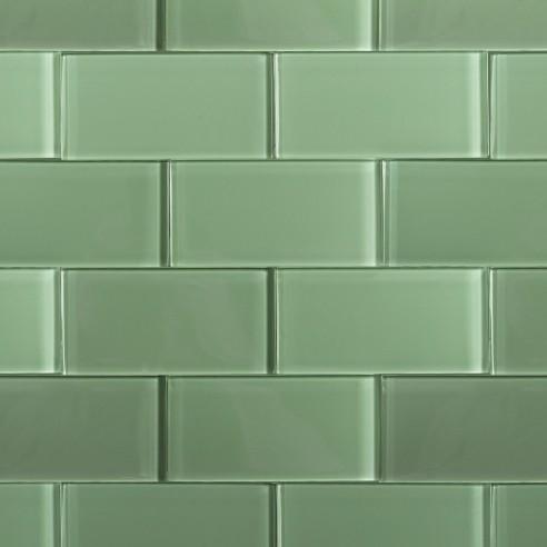 Shop For Loft Spa Green Polished 3x6 Glass Tile At Tilebar Com