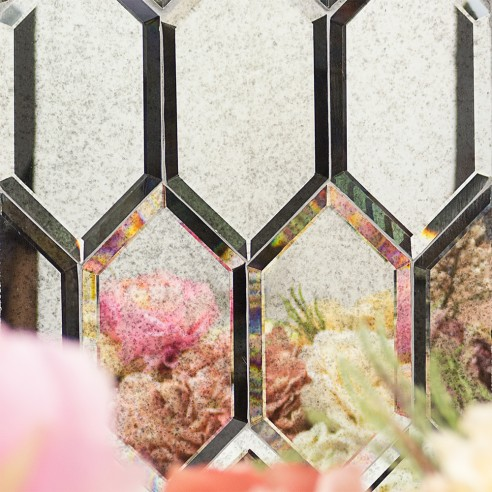 Shop For Beveled Paris Gray Hexagon Polished Glass Tile At
