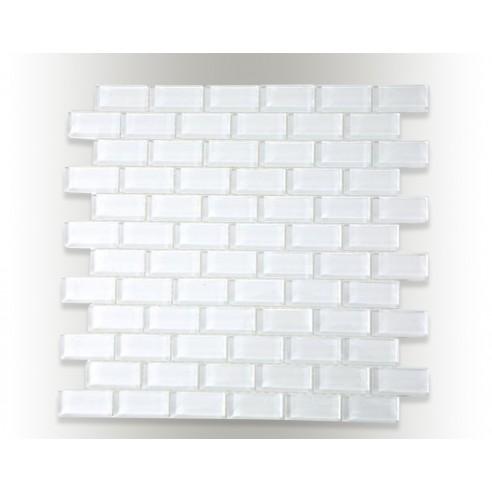 Spa Super White Polished 1x2 Glass Tiles