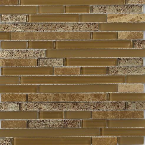 Tao Sahara Tan Glass and Stone Mosaic Tile