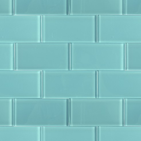Loft Turquoise Polished 3x6 Glass Tile