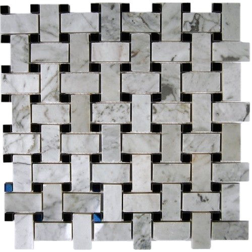 Trenza weave white cararra 1x2 with black dot 7 8x7 8 for Bathroom designs 8x7