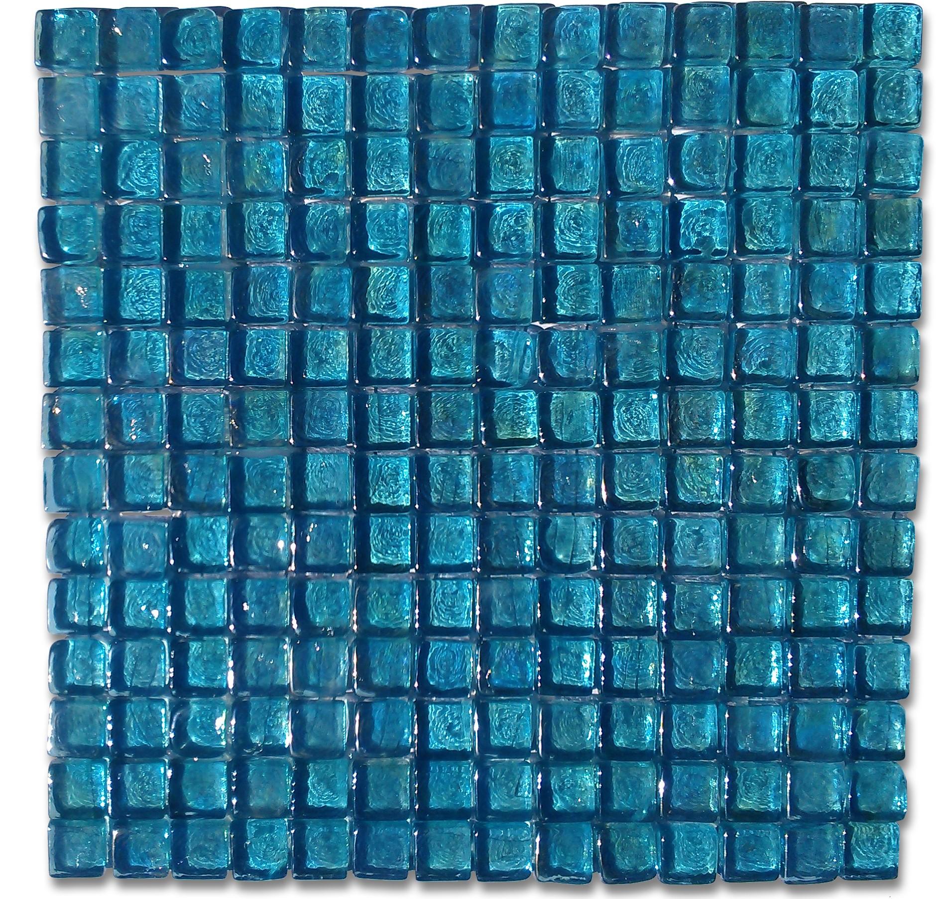 Shop 12 x 12 Murano Azure Square Polished Glass Tile in Iridescent Light Blue at GlassTileStore.com.