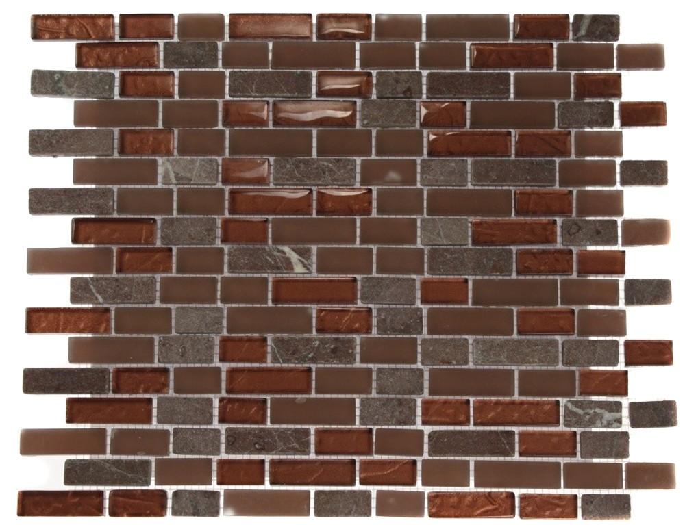 brick pattern copper clay blend 1 2x2 marble glass tile brick