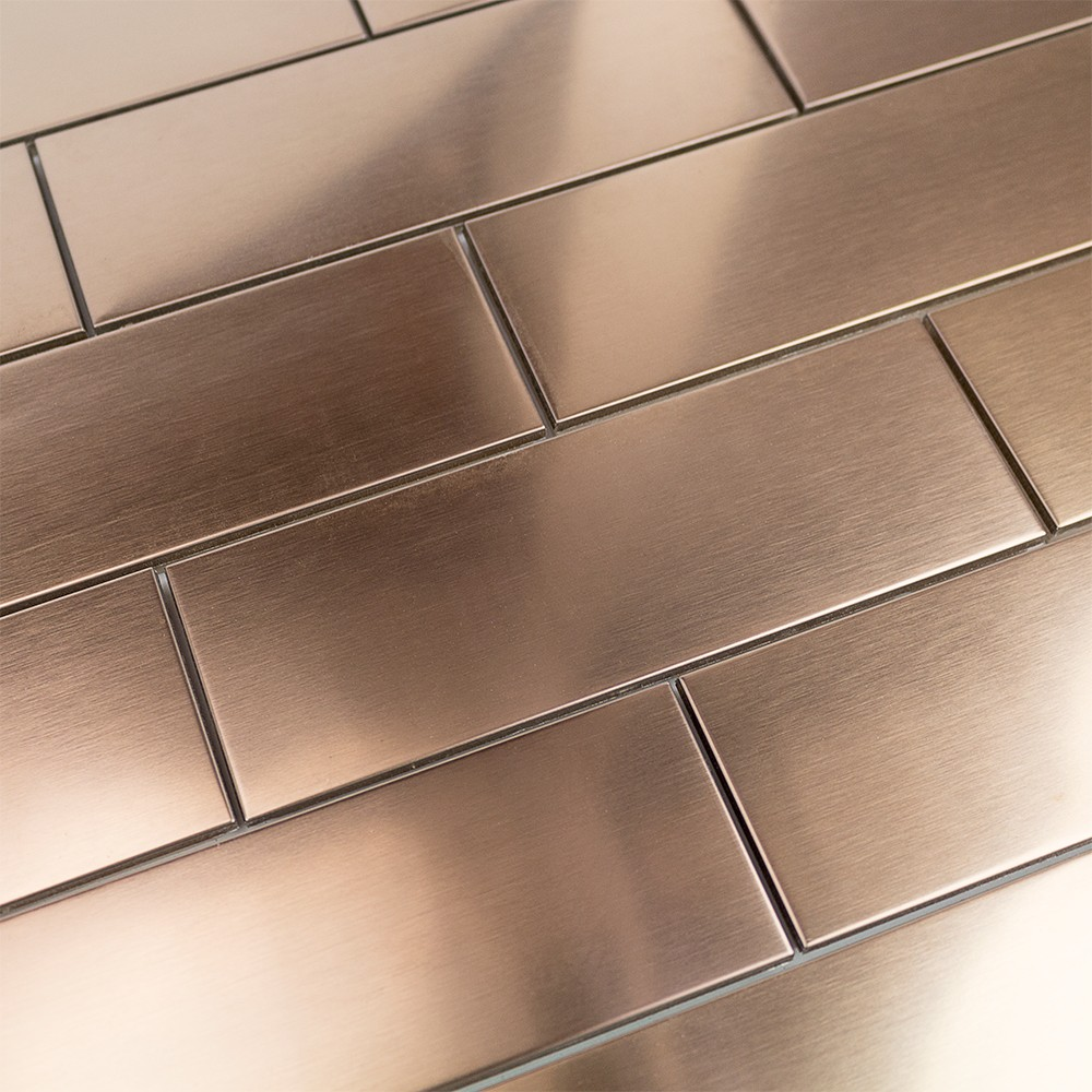 Shop 12 Pc Set Metal Subway Tiles In Matte Copper