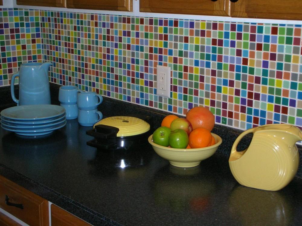 Fruit Platter 1x1 Multi Colored Polished Glass Tile