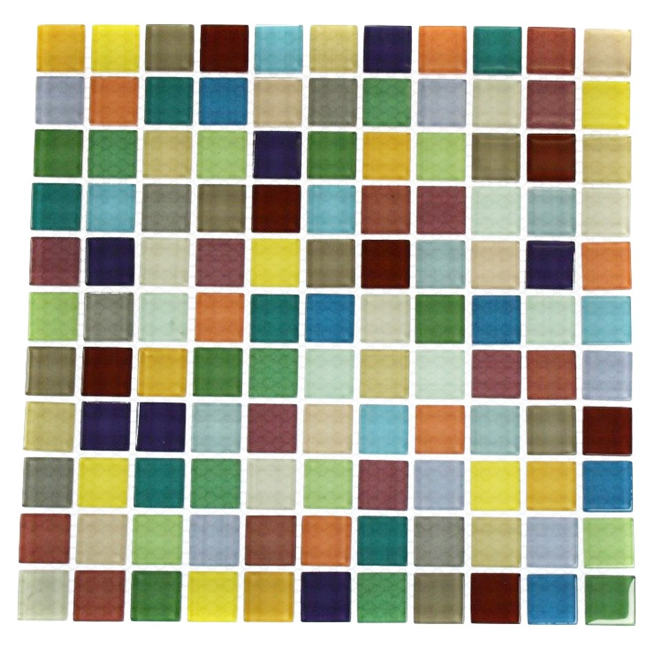 Fruit Platter 1x1 Multi Colored Polished Glass Tile