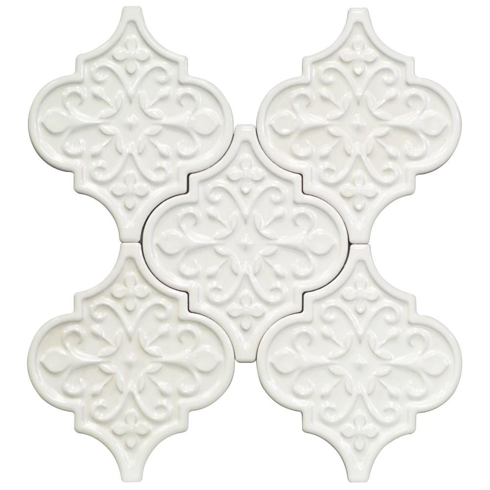 Arabesque Tiles Kitchen Wall: Byzantine Florid Arabesque Bianco Ceramic Tile